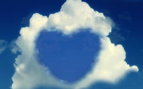 Love heart clouds sky valentines day