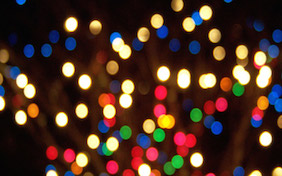 Twinkling colored lights night time holiday christmas