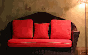 Red couch inside living room