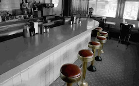 Diner restaurant counter inside