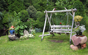 Garden swing outside