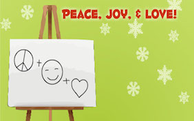 Holiday pictionary happy holidays seasons greetings peace joy love