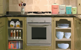 Kitchen oven inside