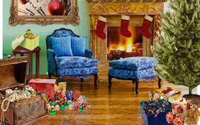 Holiday Christmas living room armchair fireplace decorations tree stockings