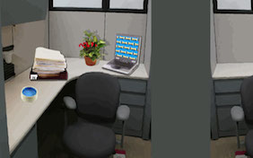 Office cubicle desk computer inside