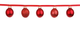 Merry christmas red decorative shiny balls happy holidays seasons greetings