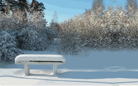 Winter snowy bench snow trees holidays christmas