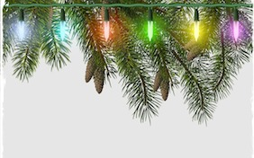 Christmas lights pine cones holidays