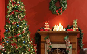 Christmas living room stockings tree lights decorations holidays seasons greetings