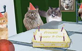 Birthday Wishes ecard with cats