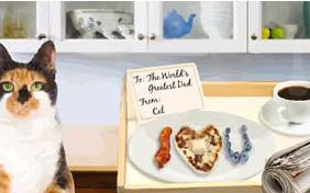 Father's Day Breakfast cat ecard