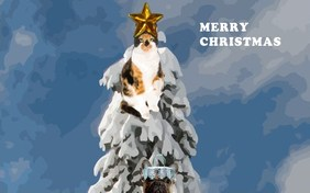 Christmas Tree holiday ecard with Cats