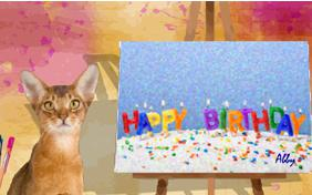 Birthday Art Ecard With Cats