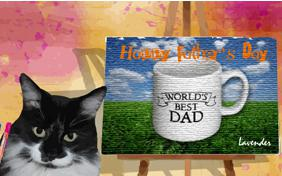 Father's Day Art ecard with cats
