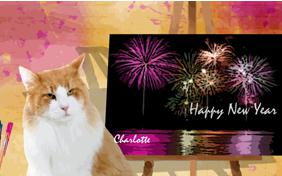 New Year Art cat ecard