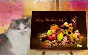 Thanksgiving Art cat ecard