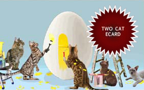 Easter Surprise ecard starring two cats