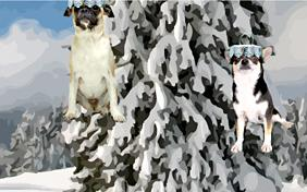 Christmas Tree holiday ecard with dogs