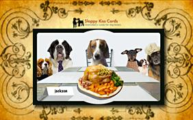 Thanksgiving invitation ecard with dogs