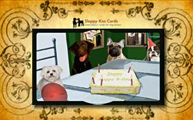 Birthday invitation ecard with dogs