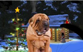 Just Dropping In: Merry Christmas Edition ecard with dogs
