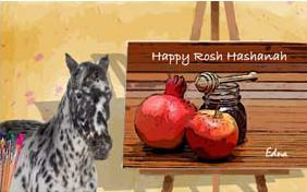 Rosh Hashanah Art ecard with pets