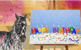 Birthday Art birthday ecard with pets