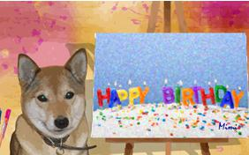 Birthday Art birthday ecard with dogs