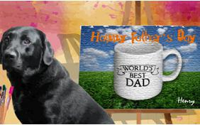 Father's Day Art ecard with dogs