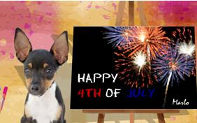 Fourth of July Art ecard with dogs