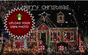 Merry Christmas Four Ways photo upload dog ecard