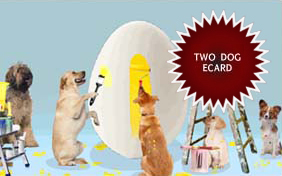 Easter Surprise ecard starring two dogs