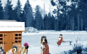 Winter Holiday Fun ecard with dogs